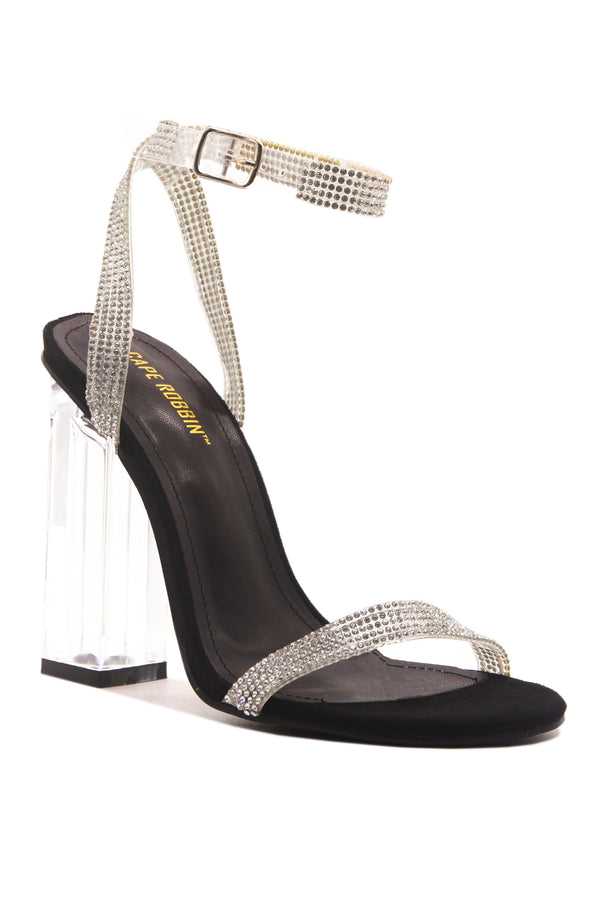 WYNN THE RHINESTONE GLASS HEELS- BLACK