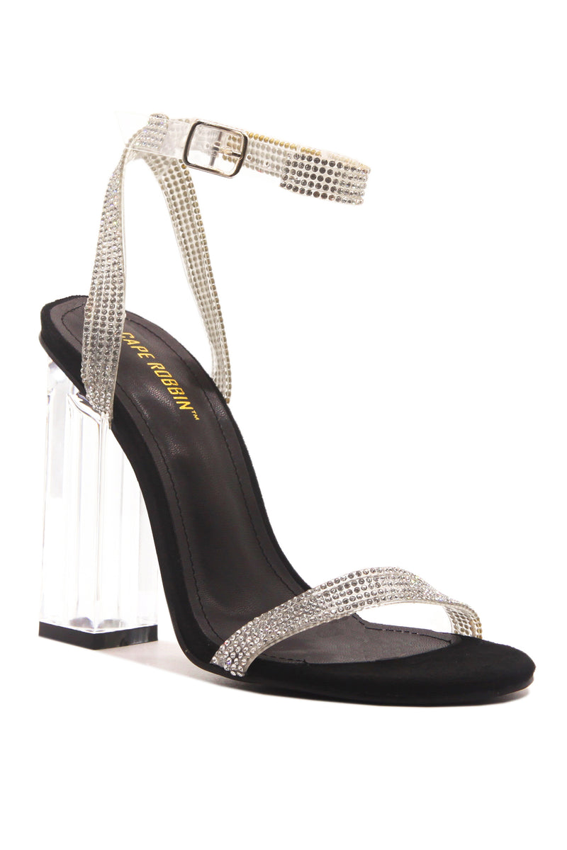 Cape Robbin WYNN THE RHINESTONE GLASS HEELS- BLACK HEELS | flashybox.myshopify.com