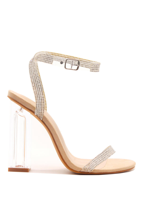 WYNN THE RHINESTONE GLASS HEELS- Nude