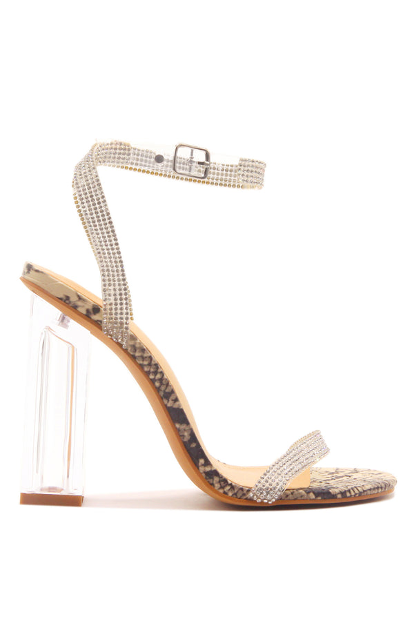 WYNN THE RHINESTONE GLASS HEELS- Snake