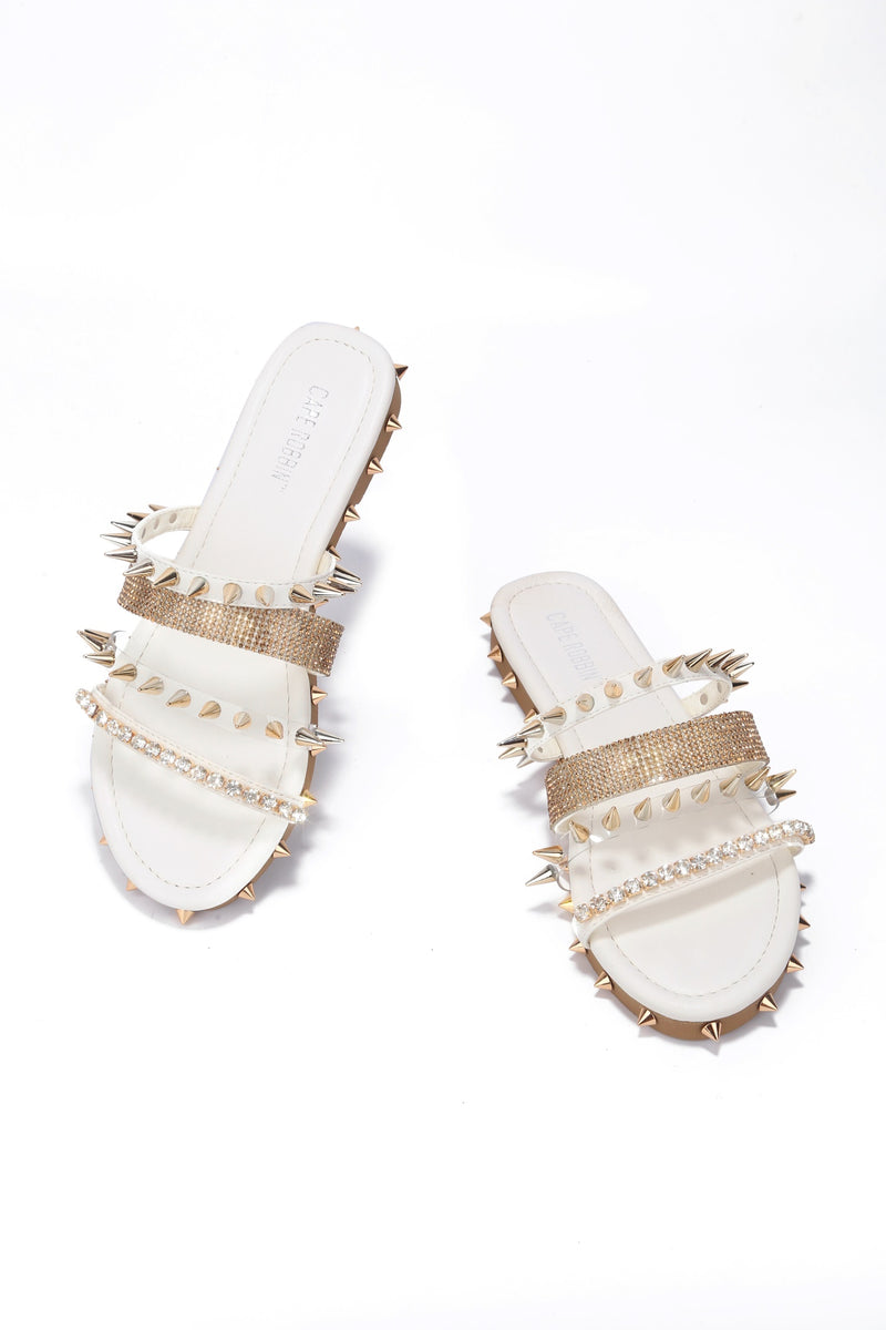 Cape Robbin XTREME FIND ANOTHER VICTIM FLAT SLIP-WHITE FLATS | flashybox.myshopify.com