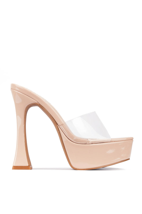 Cape Robbin YETI THEFT IS A SERIOUS CRIME CHUNKY HEEL SANDAL-NUDE HEELS | flashybox.myshopify.com