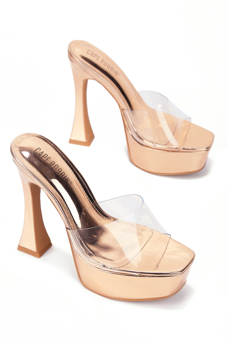 Cape Robbin YETI THEFT IS A SERIOUS CRIME CHUNKY HEEL SANDAL-ROSE GOLD HEELS | flashybox.myshopify.com
