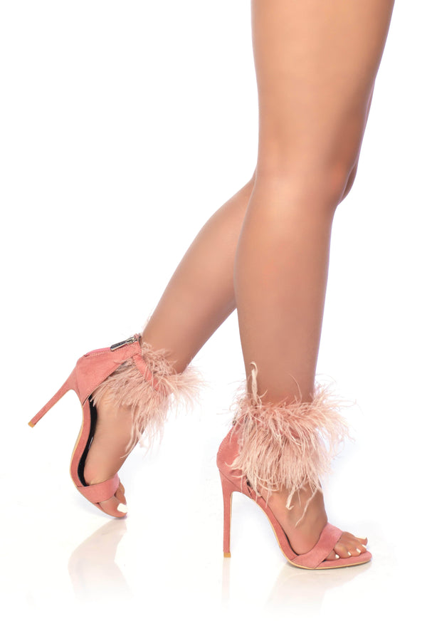 Cape Robbin | Yuki-7 Feather Ankle Cuff Open Toe Stiletto Heel Sandals-Pink (4316913565730)