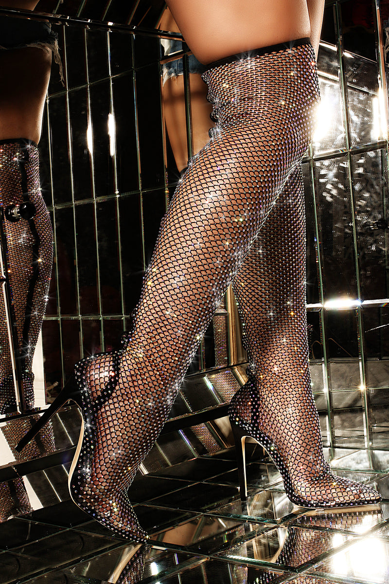Cape Robbin ZEALOUS MULTI COLOUR DIAMANTE DETAIL FISHNET THIGH HIGH LONG BOOT-BLACK BOOTS | flashybox.myshopify.com