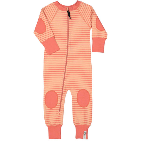 Peach & Soft Red Zip Pajamas