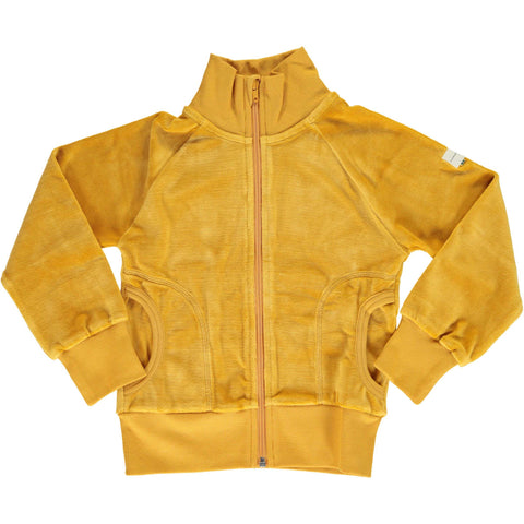 Velour Cardigan Zip Ochre