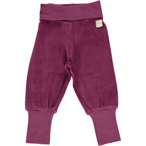 Plum Velour Rib Baby Bottoms