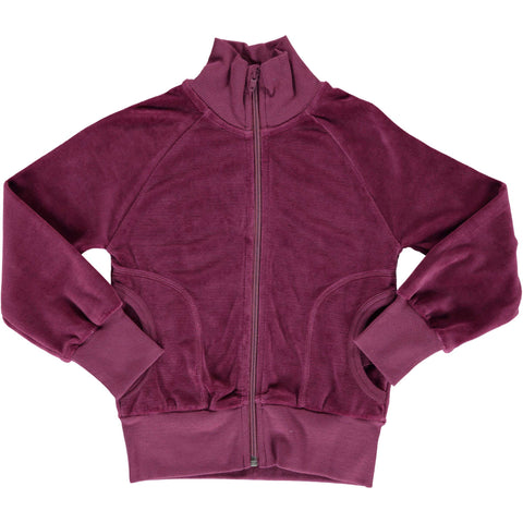 Velour Cardigan Zip Plum