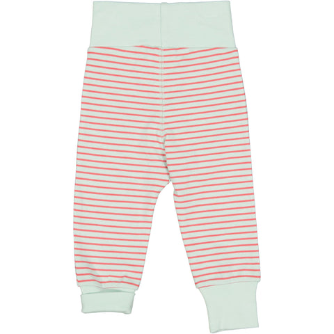 Mint and Raspberry Striped Baby Bottoms
