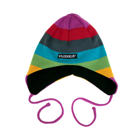 Knitted Multicolored Hat with Strings