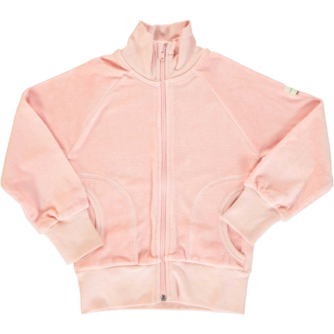 Velour Cardigan Zip Pale Blush