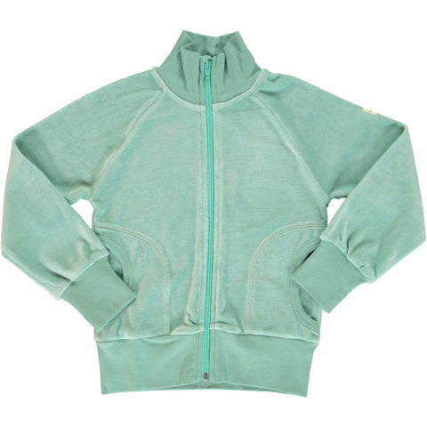 Velour Cardigan Zip Soft Teal