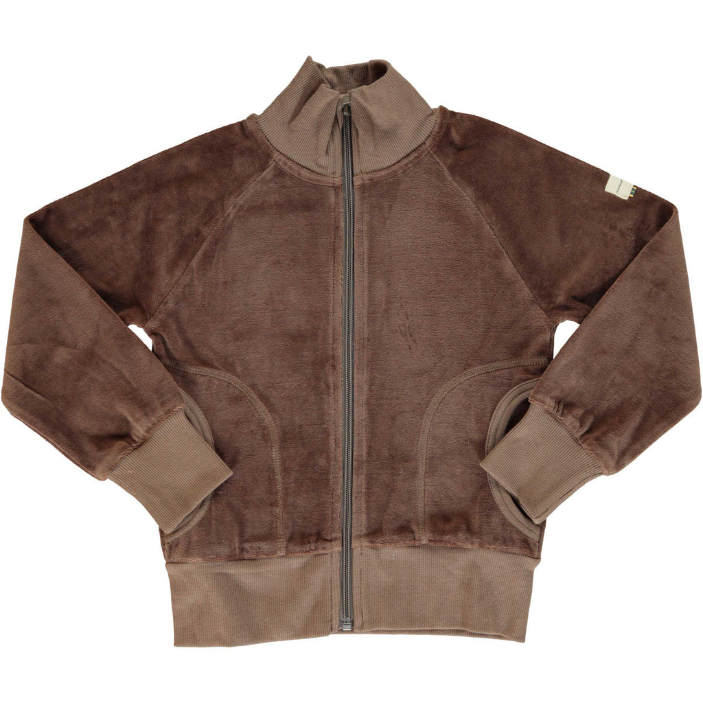 Velour Cardigan Zip Chocolate