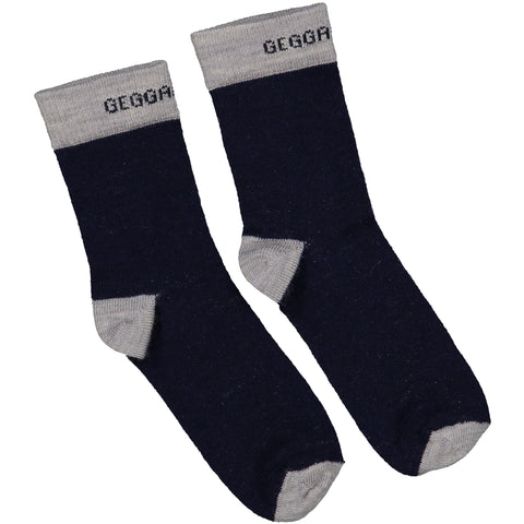 Navy and Grey Wool Socks
