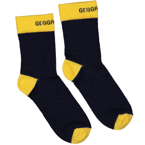 Navy and Yellow Wool Socks