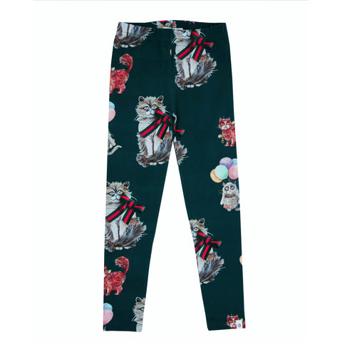 Cilia Green Cat Leggings