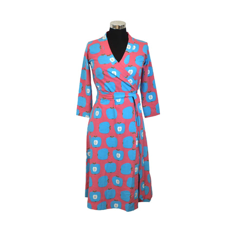 Adult Blue Apple Wrap Dress