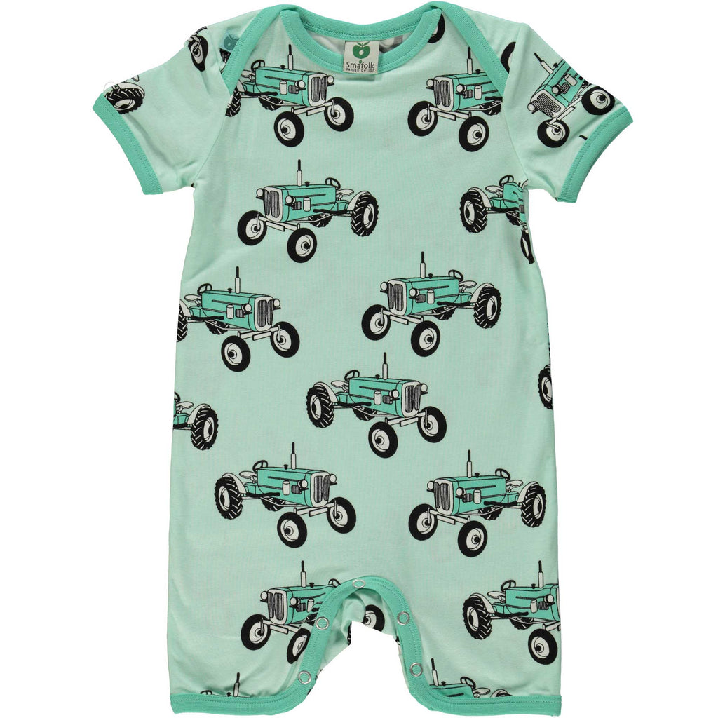 Mint Green Tractor Romper