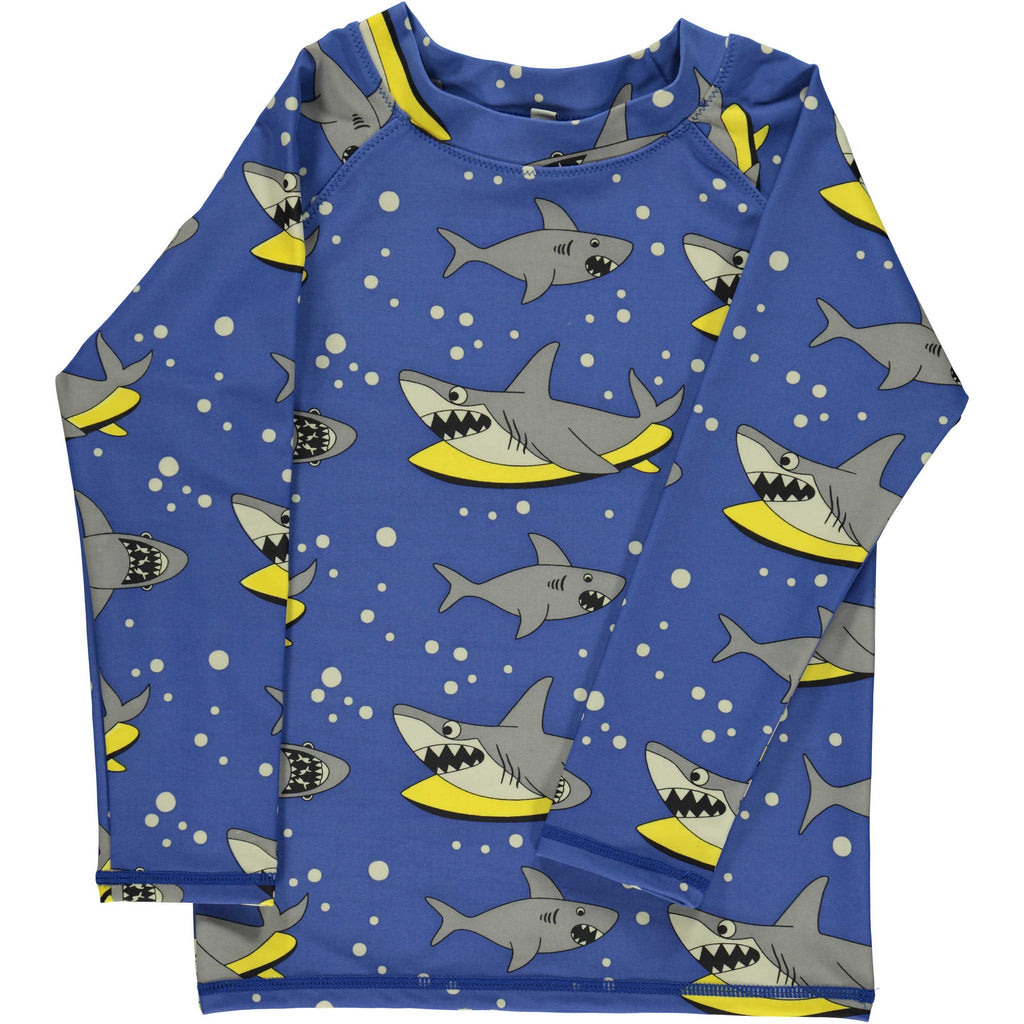 Blue and Yellow Shark Rash Guard