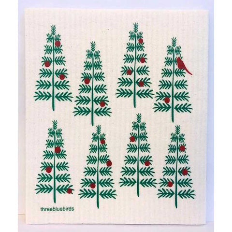 Christmas Trees Swedish Dishcloth