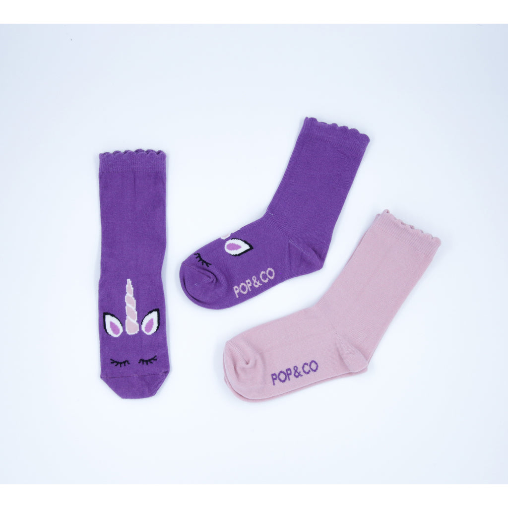 2 Pack Purple Unicorn Socks