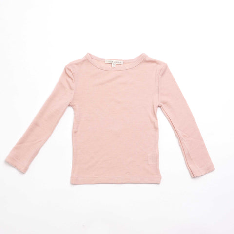 Long Sleeve Soft Pink Merino Wool Top