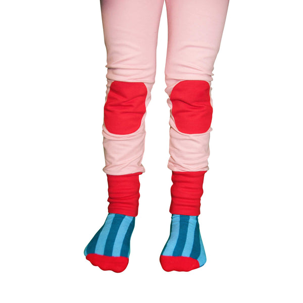 Pink and Red Knee Patch Pants