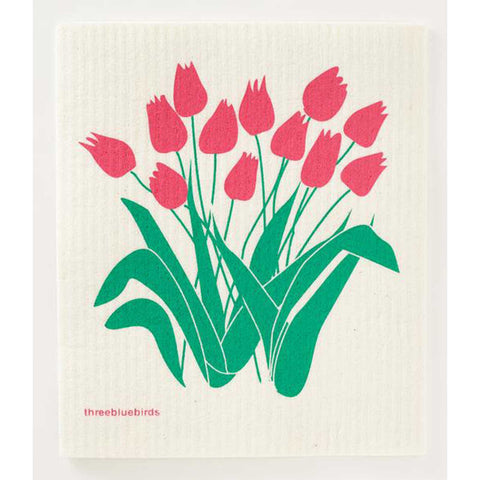 Pink Tulips Swedish Dishcloth