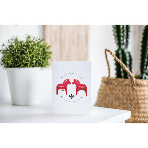 Red Dala Horse Card
