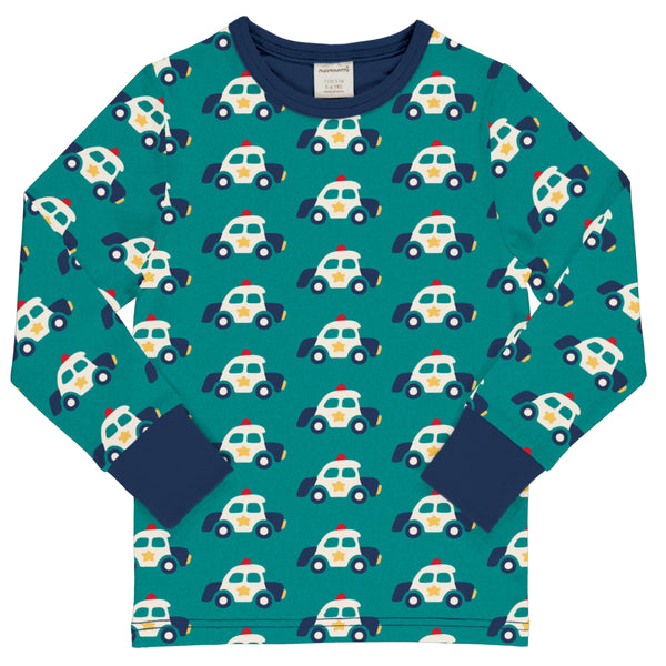 Teal Retro Police Car Shirt