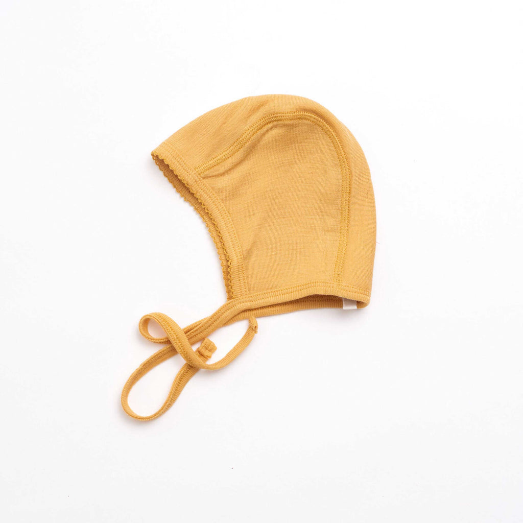 Baby Bonnet Yellow Merino Wool
