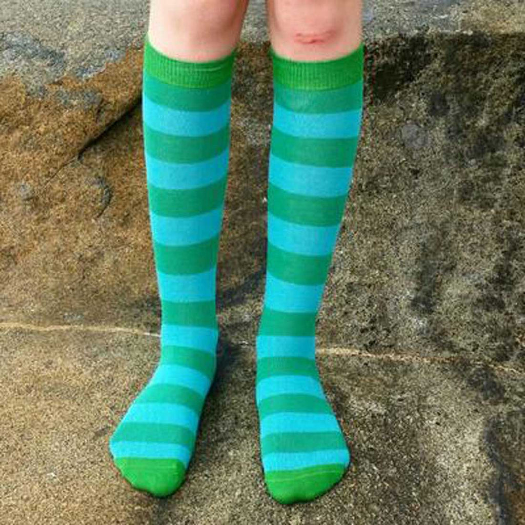 Green and Turquoise Stripe Knee Socks