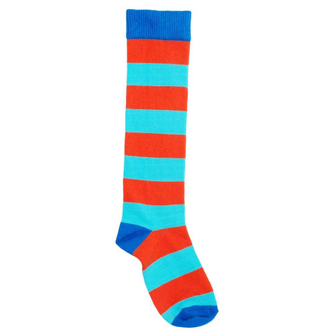 Blue and Red Knee Socks