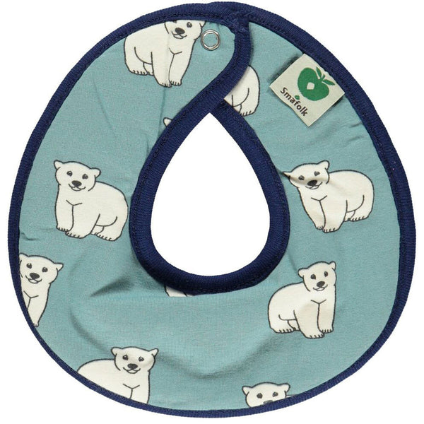 Polar Bear & Apple Reversible Bib Bluestone