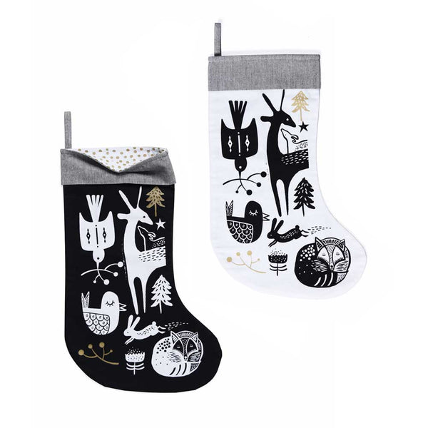 Winter Animals Stocking - White