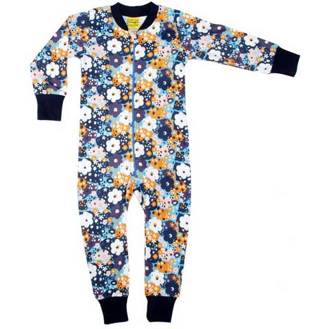 Blue Flower Zip Suit