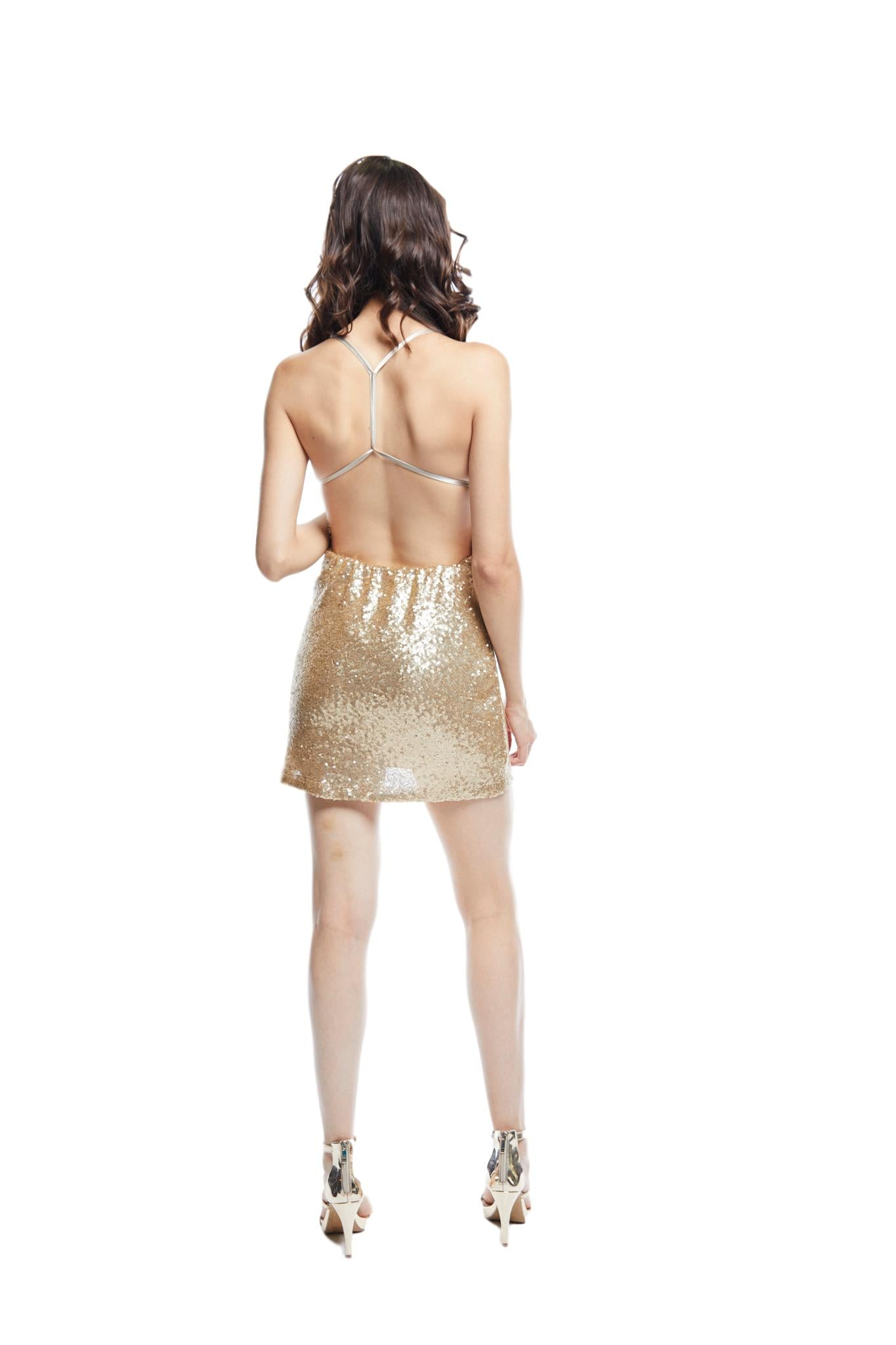 Aura Sequins Dress | Gold