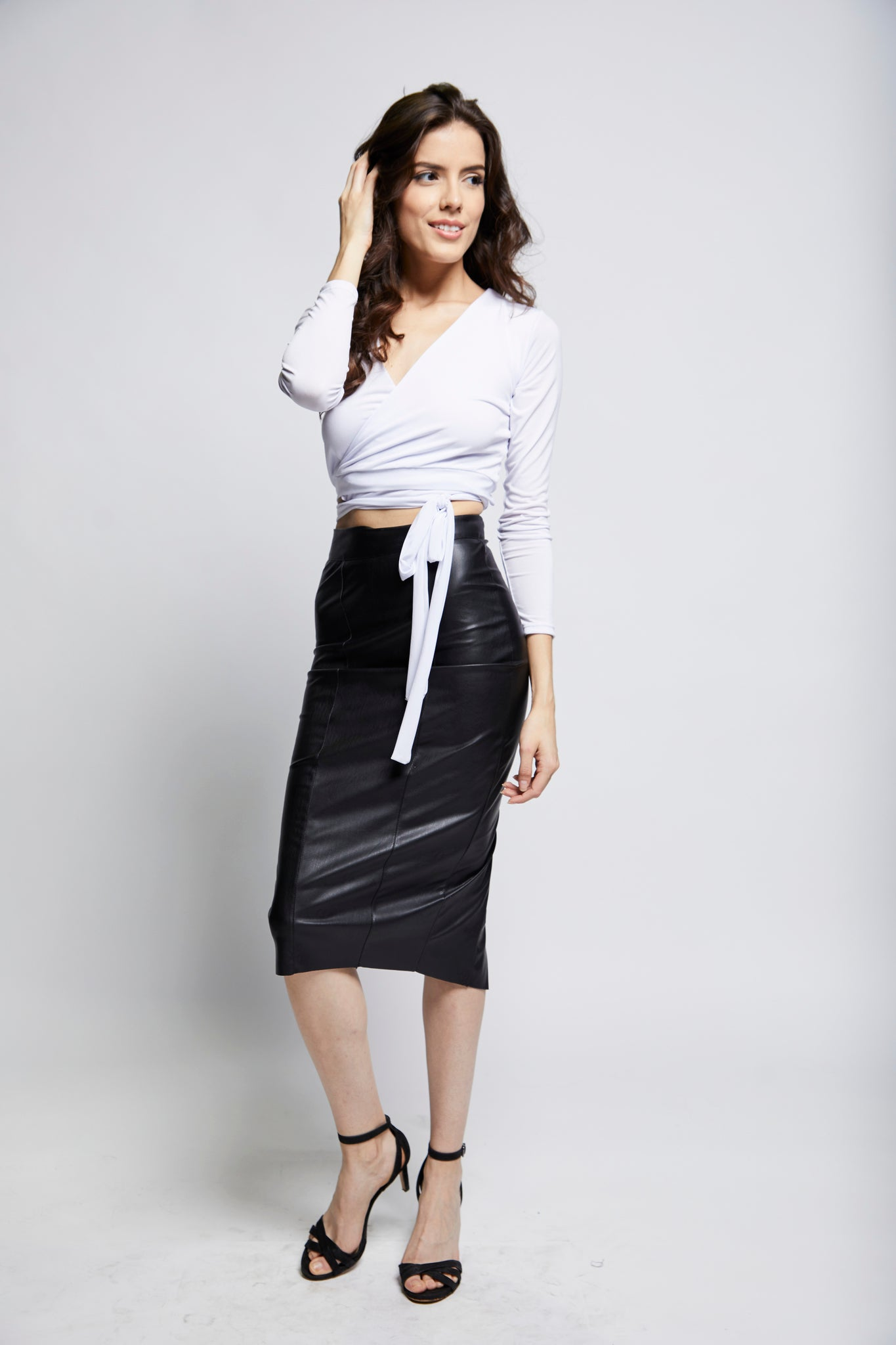 Solis Leatherette Pencil Skirt | Black