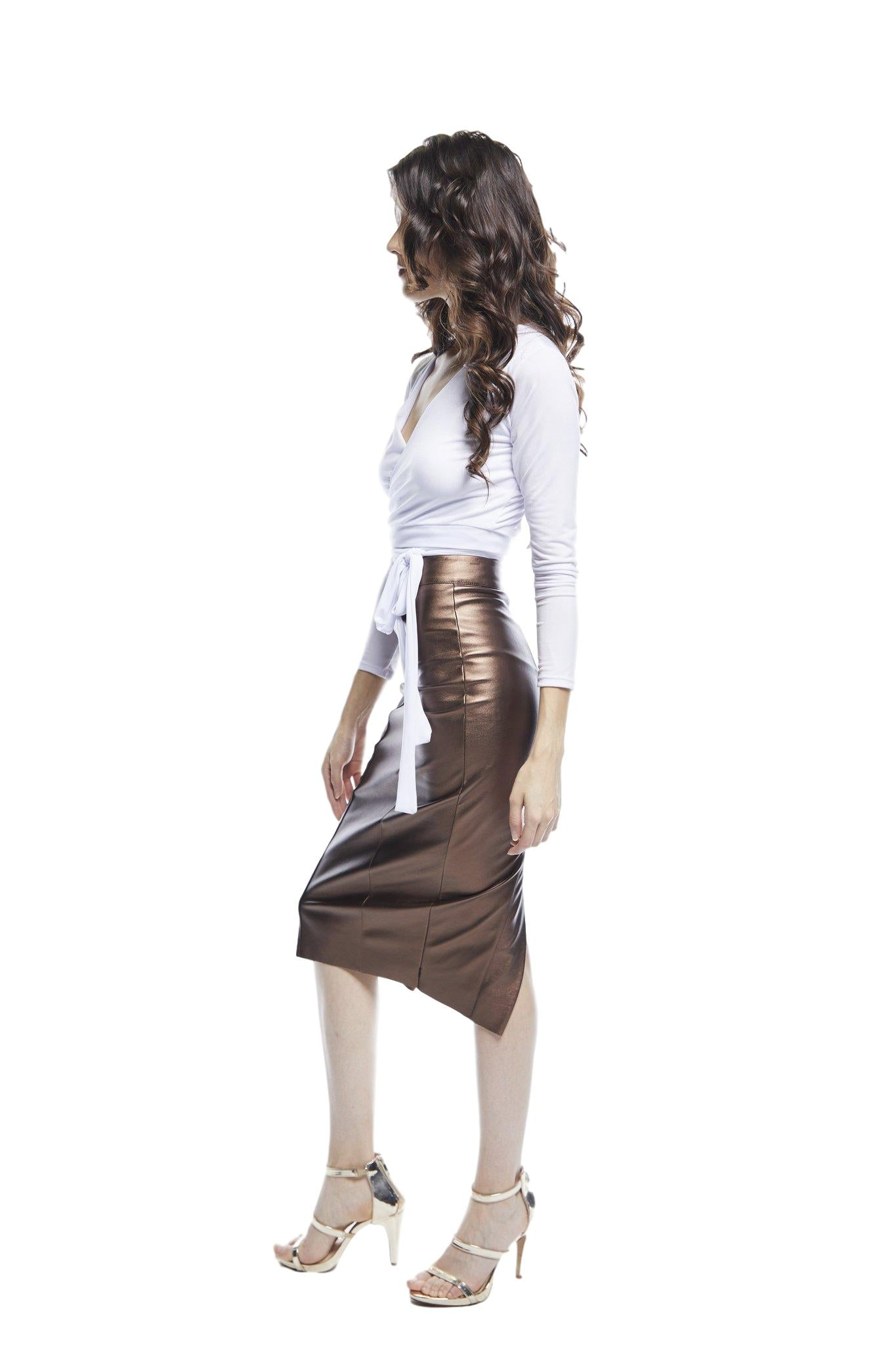 Solis Leatherette Pencil Skirt | Copper
