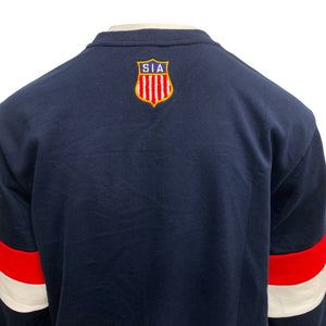 "Load image into Gallery viewer, NAVY BLUE ""HOCKEY"" CREWNECK"