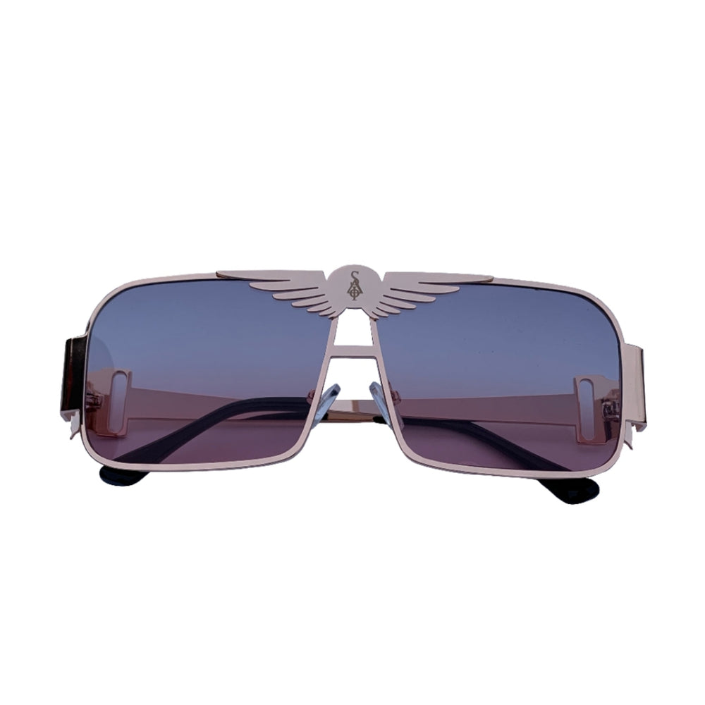 "Load image into Gallery viewer, SIA C130 ""ROSE GOLD BLUE FADE LENS"" SUNGLASSES"