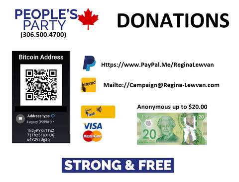Tax Deductible Donation to Regina-Lewvan PPC's Campaign