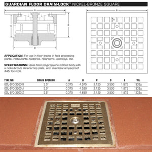 Guardian Drain Lock Square Floor Drain-Lock