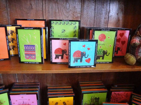 The Elephant Story sells Jaab cards from Thailand, handmade and hand painted with elephant imagery on mulberry paper.