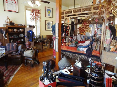 The Elephant Story, a shop housed in a restored 1913 building in Comfort, features artisan wares from Asia.