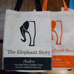 Gift with purchase:  Elephant Story canvas shopping bag in Black