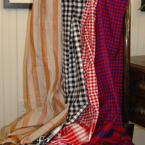 Red and Navy Checked Scarf