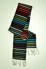 Carol Cassidy Cambodian Silk Mini Rainbow Scarf - Medium Stripe