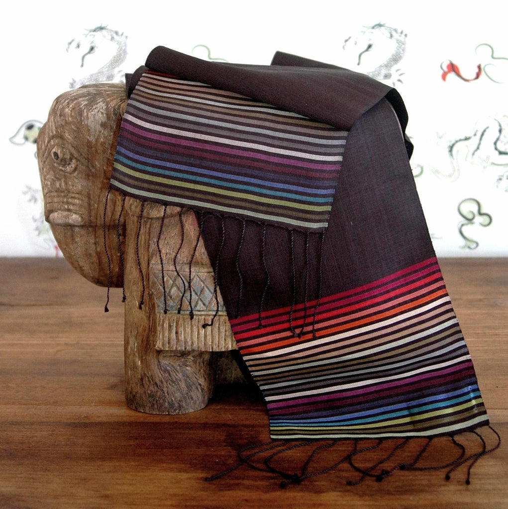 Carol Cassidy Cambodian Silk Mini Rainbow Scarf - solid with skinny stripe